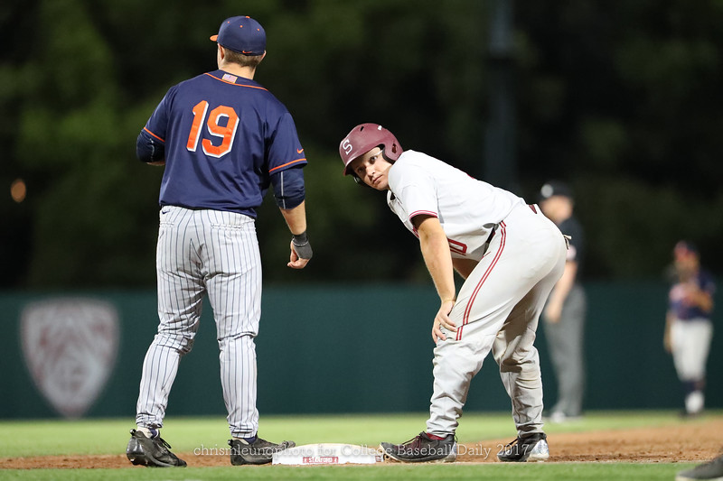 6/3/17: NCAA Regionals Stanford vs Fullerton at Klein Field at Sunken Diamond in Palo Alto, CA <br /> Stanford Cardinal catcher Maverick Handley (10)<br /> <br /> Image by Chris M. Leung for College Baseball Daily
