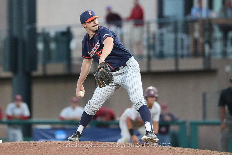 6/3/17: NCAA Regionals Stanford vs Fullerton at Klein Field at Sunken Diamond in Palo Alto, CA <br /> CSU Fullerton Titans pitcher Blake Workman (55)<br /> <br /> Image by Chris M. Leung for College Baseball Daily