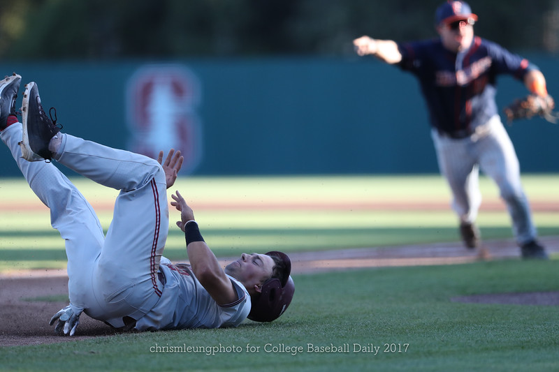 6/3/17: NCAA Regionals Stanford vs Fullerton at Klein Field at Sunken Diamond in Palo Alto, CA <br /> Stanford Cardinal infielder Duke Kinamon (12)<br /> <br /> Image by Chris M. Leung for College Baseball Daily