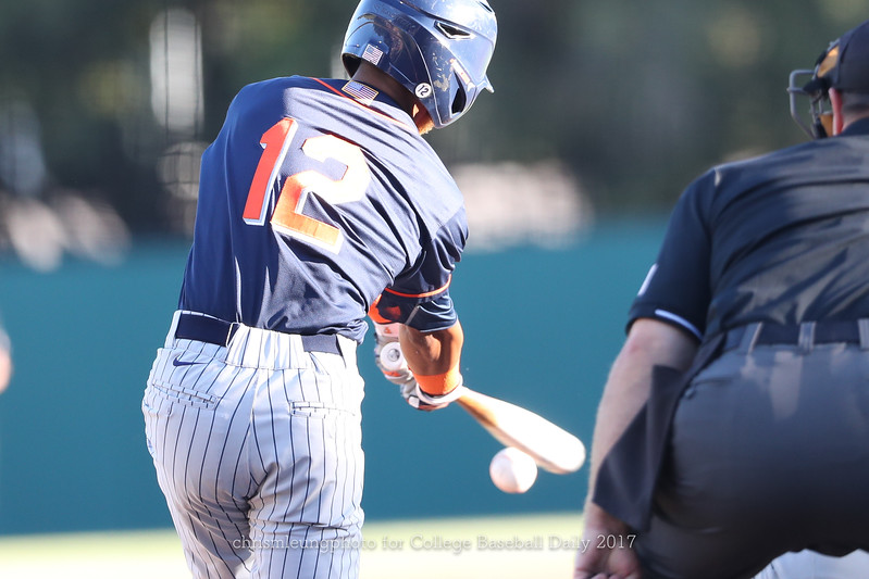 6/3/17: NCAA Regionals Stanford vs Fullerton at Klein Field at Sunken Diamond in Palo Alto, CA <br /> CSU Fullerton Titans infielder Sahid Valenzuela (12)<br /> <br /> Image by Chris M. Leung for College Baseball Daily