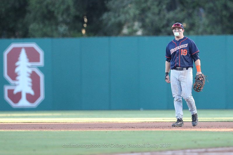 6/3/17: NCAA Regionals Stanford vs Fullerton at Klein Field at Sunken Diamond in Palo Alto, CA <br /> CSU Fullerton Titans infielder Dillon Persinger (19)<br /> <br /> Image by Chris M. Leung for College Baseball Daily