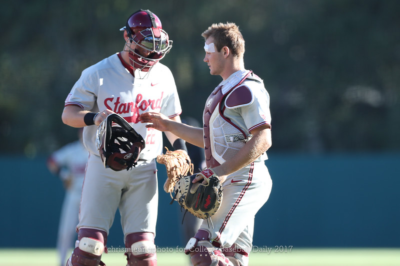 6/3/17: NCAA Regionals Stanford vs Fullerton at Klein Field at Sunken Diamond in Palo Alto, CA <br /> Stanford Cardinal outfielder Alex Dunlap (22)<br /> Stanford Cardinal catcher Maverick Handley (10)<br /> <br /> Image by Chris M. Leung for College Baseball Daily