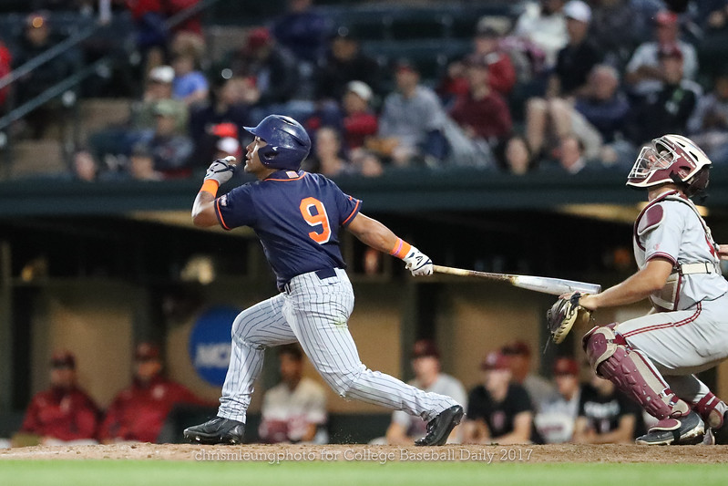 6/3/17: NCAA Regionals Stanford vs Fullerton at Klein Field at Sunken Diamond in Palo Alto, CA <br /> CSU Fullerton Titans infielder Hank LoForte (9)<br /> <br /> Image by Chris M. Leung for College Baseball Daily