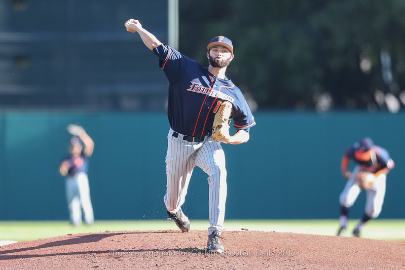 6/3/17: NCAA Regionals Stanford vs Fullerton at Klein Field at Sunken Diamond in Palo Alto, CA <br /> CSU Fullerton Titans pitcher Colton Eastman (17)<br /> <br /> Image by Chris M. Leung for College Baseball Daily