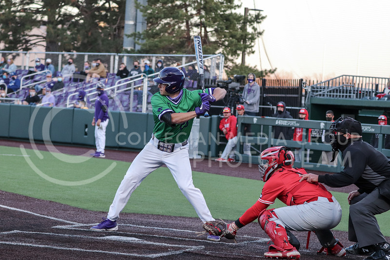 Junior Jordan Maxson is at bat during the game on March 19, 2021 against New Mexico. (Macey Franko | Collegian Media Group)