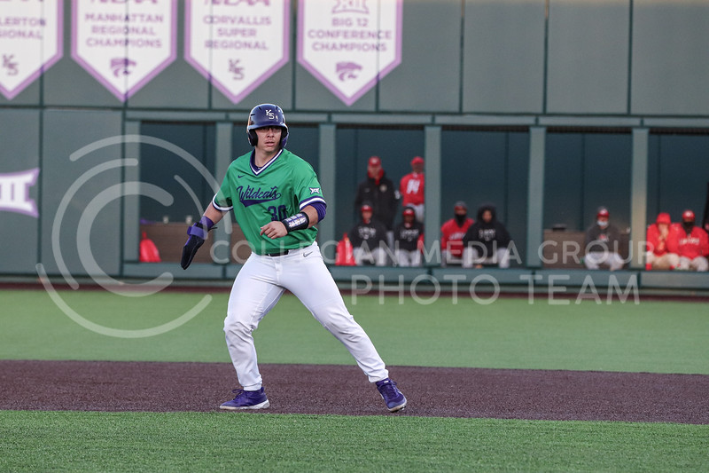 Senior Chris Ceballos watches the pitch as he takes a secondary lead off of first base during the game on March 19, 2021 against New Mexico. (Macey Franko | Collegian Media Group)