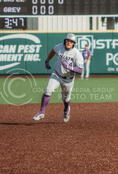 Dylan Phillips runs to the next base during the first game of the intrasquad Fall World Series at Tointon Family Stadium on October 8th. (Sophie Osborn | Collegian Media Group)