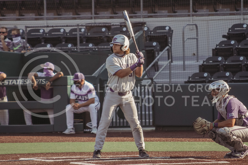 Kaden Fowler readies to bat during the first game of the intrasquad Fall World Series at Tointon Family Stadium on October 8th. (Sophie Osborn | Collegian Media Group)