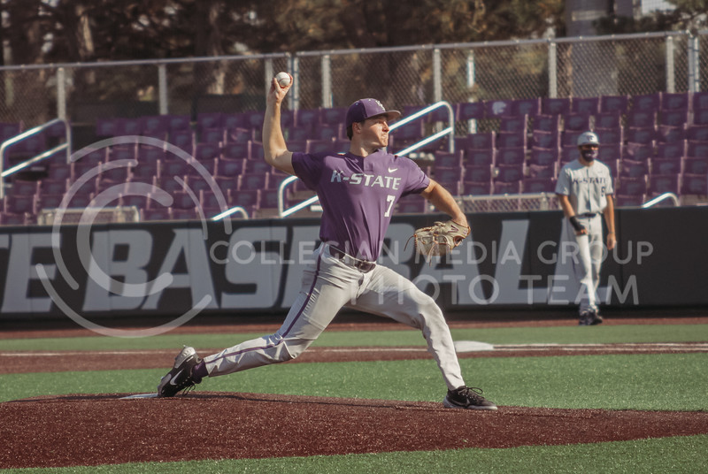 Luke Hauswirth pitches the ball during the first game of the intrasquad Fall World Series at Tointon Family Stadium on October 8th. (Sophie Osborn | Collegian Media Group)