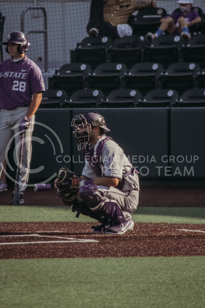 The catcher for the grey team waits for the next batter during the first game of the intrasquad Fall World Series at Tointon Family Stadium on October 8th. (Sophie Osborn | Collegian Media Group)