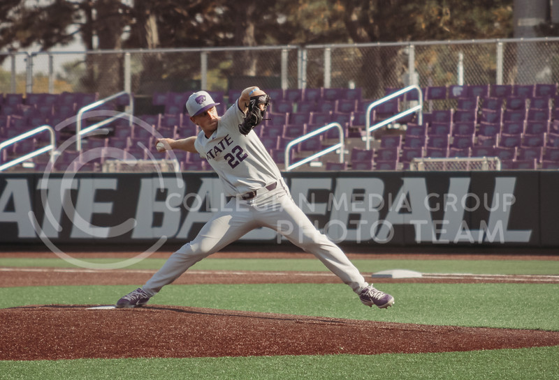 Zak Herbers prepares to pitch during the first game of the intrasquad Fall World Series at Tointon Family Stadium on October 8th. (Sophie Osborn | Collegian Media Group)