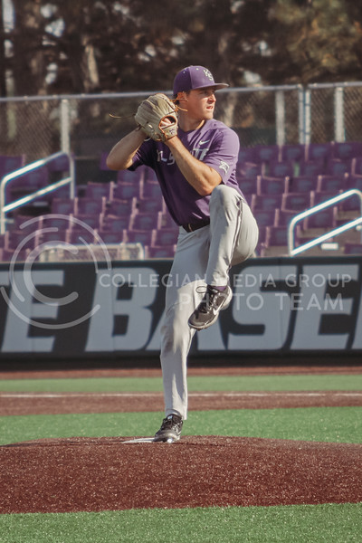 Luke Hauswirth readies to pitch during the first game of the intrasquad Fall World Series at Tointon Family Stadium on October 8th. (Sophie Osborn | Collegian Media Group)