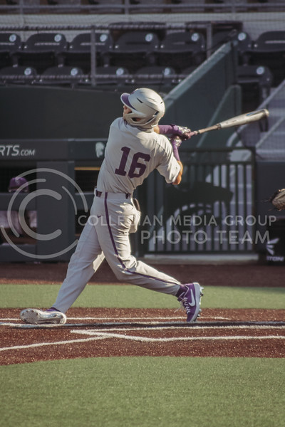 Elijah Dale swings through during the first game of the intrasquad Fall World Series at Tointon Family Stadium on October 8th. (Sophie Osborn | Collegian Media Group)