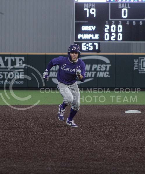 Cameron Thompson runs toward third base in the third inning of game two of the team's Fall World Series at Tointon Family Stadium on October 9th. (Macey Franko | Collegian Media Group)