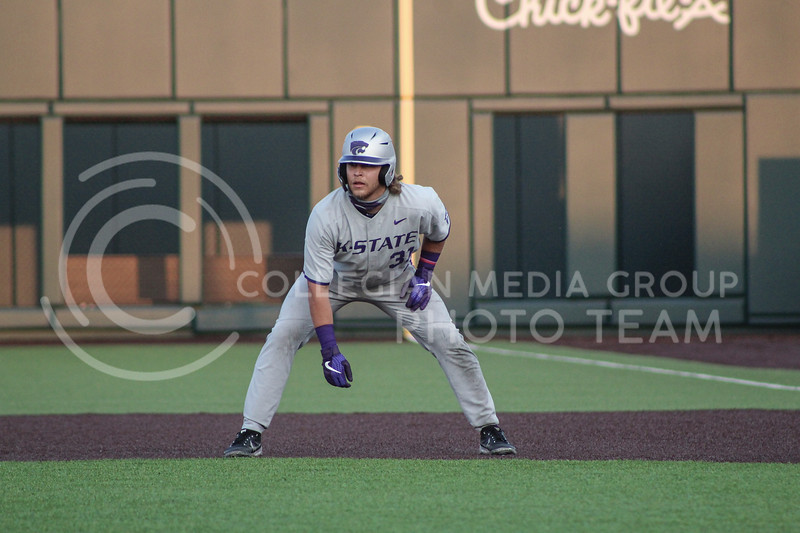 Kaden Fowler leads off of first base in game two of the team's Fall World Series at Tointon Family Stadium on October 9th. (Macey Franko | Collegian Media Group)