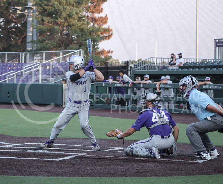 Dom Hughes anticipates the ball at home plate during game two of the team's Fall World Series at Tointon Family Stadium on October 9th. (Macey Franko | Collegian Media Group)