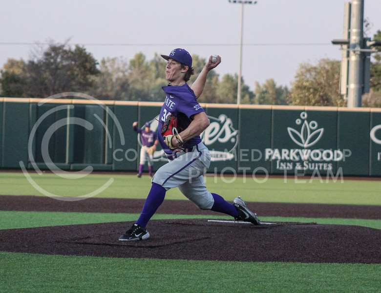 Tyler Ruhl winds up a pitch during Game two of the team's Fall World Series at Tointon Family Stadium on October 9th. (Macey Franko | Collegian Media Group)