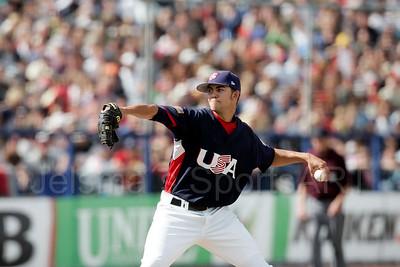 pim mulier stadion honkbal haarlemse honkbalweek 2008 cuba tegen usa amerika verenigde staten final finale USA wint met 1-4 Mike Minor in actie voor de USA