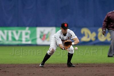 pim mulier stadion honkbal haarlemse honkbalweek nederlands team 2008 oranje amerika netherlands - USA michael duursma korte stop in actie