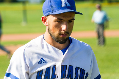 Record-Eagle/Brett A. Sommers Kalkaska pitcher Hayden Zimmerman walks off the mound during Thursday's game against Traverse City West. West won the doubleheader opener 15-5.