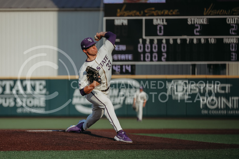 Sophomore pitcher Jordan Wicks winds up to pitch the ball during the first game against Eastern Illinois on March 5, 2021 at Tointon Family Stadium. (Sophie Osborn | Collegian Media Group)