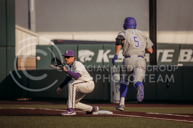 Junior infielder Terrence Spurlin eyes the ball in hopes of getting out a runner during the first game against Eastern Illinois on March 5, 2021 at Tointon Family Stadium. (Sophie Osborn | Collegian Media Group)