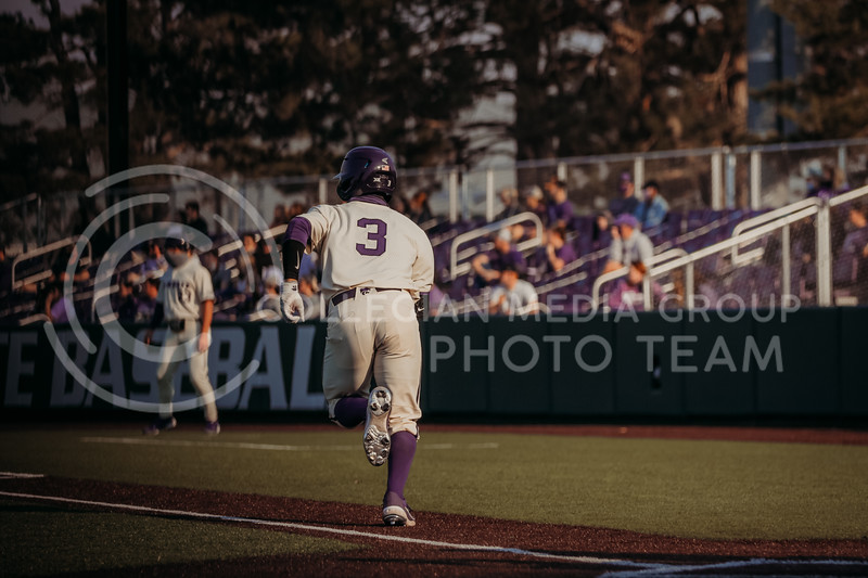 Senior infielder Cameron Thompson runs in hopes of making it to first during the first game against Eastern Illinois on March 5, 2021 at Tointon Family Stadium. (Sophie Osborn | Collegian Media Group)