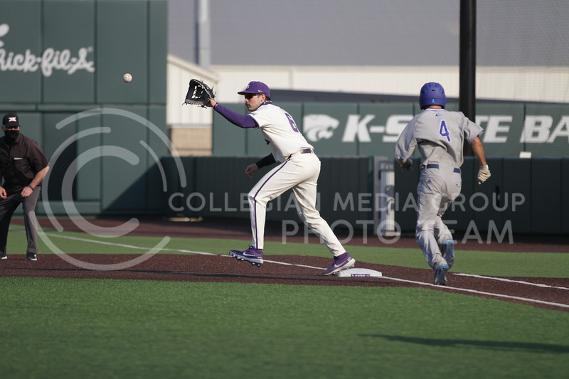 Junior infielder Terrence Spurlin looks to get out a runner during the first game against Eastern Illinois on March 5, 2021 at Tointon Family Stadium. (Sophie Osborn | Collegian Media Group)