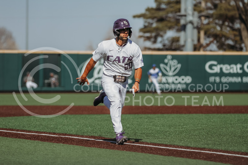 Sophomore infielder Daniel Carinci runs towards home during the the March 7, 2021 game against Eastern Illinois. (Sophie Osborn   Collegian Media Group)
