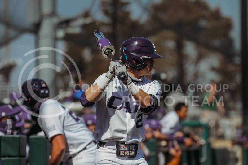 Junior Jaxon Passino readies to bat during the the March 7, 2021 game against Eastern Illinois. (Sophie Osborn   Collegian Media Group)