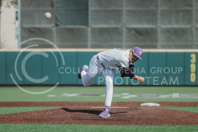 pitches the ball during the the March 7, 2021 game against Eastern Illinois. (Sophie Osborn   Collegian Media Group)