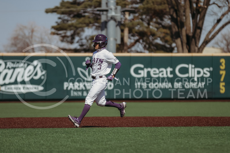 Senior Cameron Thompson runs to third during the the March 7, 2021 game against Eastern Illinois. (Sophie Osborn   Collegian Media Group)
