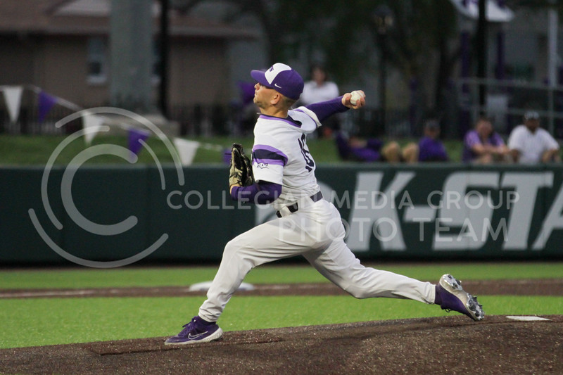 Freshman Elijah Dale pitches the ball during the April 27, 2021 game against Missouri at Tointon Family Stadium. (Sophie Osborn | Collegian Media Group)
