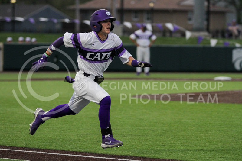 Sophomore Blake Burrows hustles to get to first base during the April 27, 2021 game against Missouri at Tointon Family Stadium. (Sophie Osborn | Collegian Media Group)