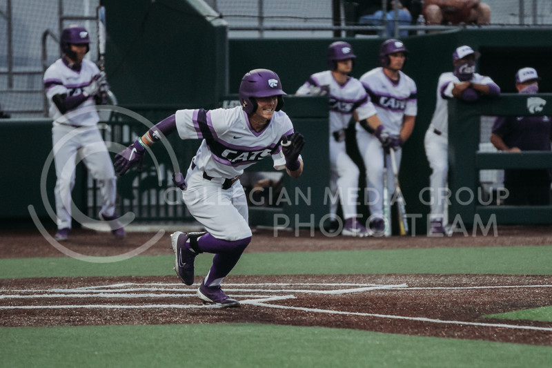 Sophomore Blake Burrows heads to first base during the April 27, 2021 game against Missouri at Tointon Family Stadium. (Sophie Osborn | Collegian Media Group)