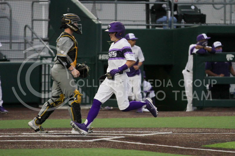 Sophomore Blake Burrows hits home plate during the April 27, 2021 game against Missouri at Tointon Family Stadium. (Sophie Osborn | Collegian Media Group)
