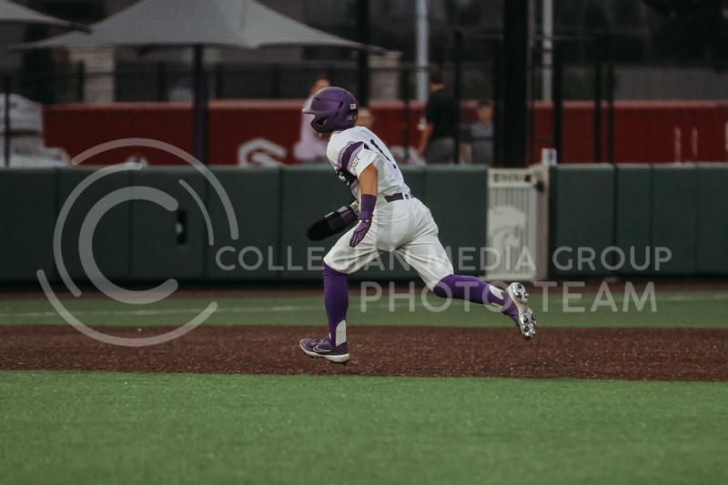 Sophomore Blake Burrows runs to third base during the April 27, 2021 game against Missouri at Tointon Family Stadium. (Sophie Osborn | Collegian Media Group)