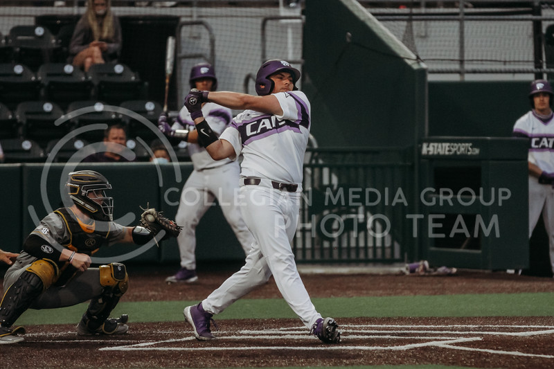 Sophomore Dylan Phillips swings during the April 27, 2021 game against Missouri at Tointon Family Stadium. (Sophie Osborn | Collegian Media Group)