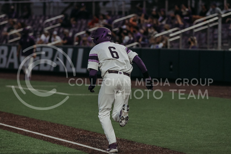 Junior Terrence Spurlin runs towards first base during the April 27, 2021 game against Missouri at Tointon Family Stadium. (Sophie Osborn | Collegian Media Group)