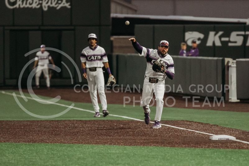 Junior Terrence Spurlin throws the ball to a teammate during the April 27, 2021 game against Missouri at Tointon Family Stadium. (Sophie Osborn | Collegian Media Group)