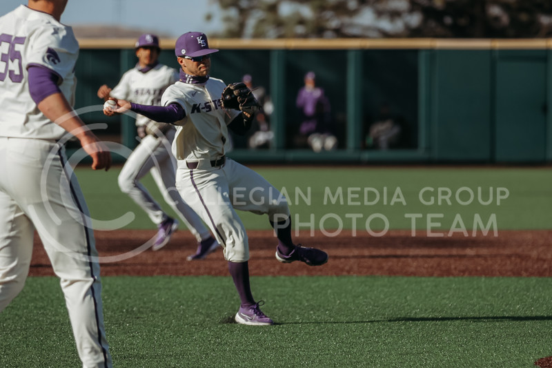 Senior Cameron Thompson looks to throw the ball during the game on March 20, 2021 against New Mexico at Tointon Family Stadium. ( Sophie Osborn   Collegian Media Group)