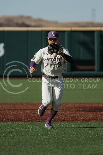 Senior Cameron Thompson gets ready to catch the ball during the game on March 20, 2021 against New Mexico at Tointon Family Stadium. ( Sophie Osborn   Collegian Media Group)