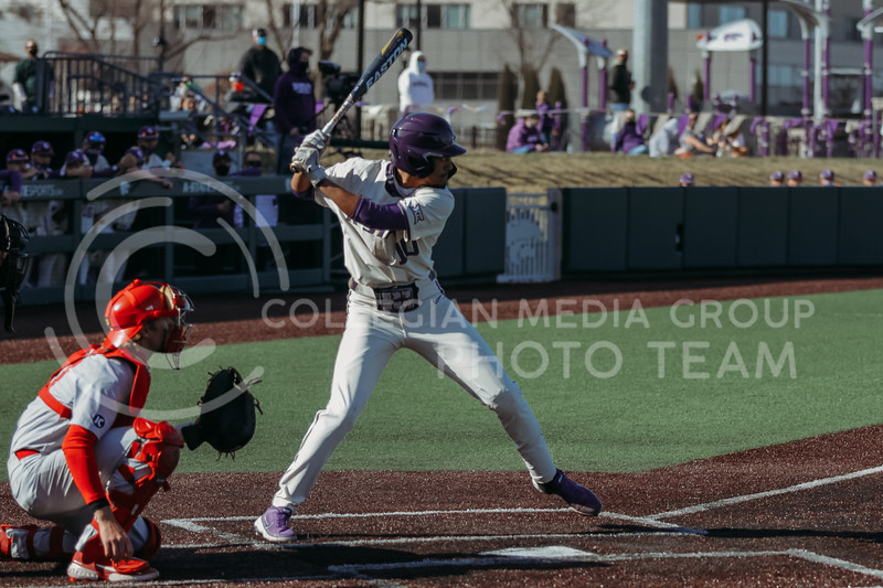 Junior Kamron Willman steps up to the plate during the game on March 20, 2021 against New Mexico at Tointon Family Stadium. ( Sophie Osborn   Collegian Media Group)
