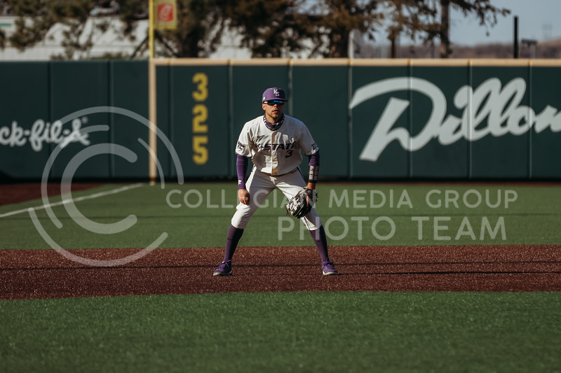 Senior Cameron Thompson prepares for the next play during the game on March 20, 2021 against New Mexico at Tointon Family Stadium. ( Sophie Osborn   Collegian Media Group)