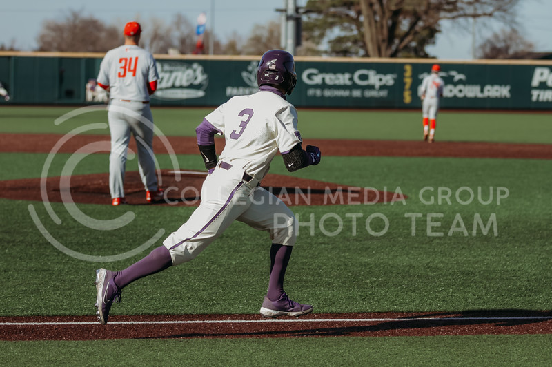 Senior Cameron Thompson runs towards first base during the game on March 20, 2021 against New Mexico at Tointon Family Stadium. ( Sophie Osborn   Collegian Media Group)