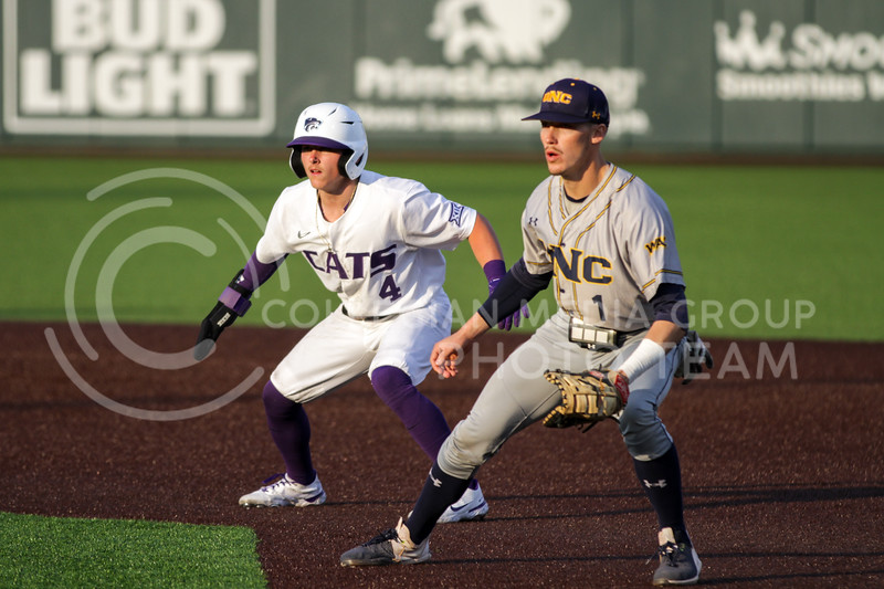 Sophomore Blake Burrows looks to steal a base during the April 13, 2021 game against Northern Colorado at Tointon Family Stadium. (Sophie Osborn | Collegian Media Group)