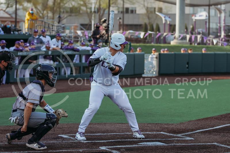 Senior Chris Ceballos gets ready to bat during the April 13, 2021 game against Northern Colorado at Tointon Family Stadium. (Sophie Osborn | Collegian Media Group)