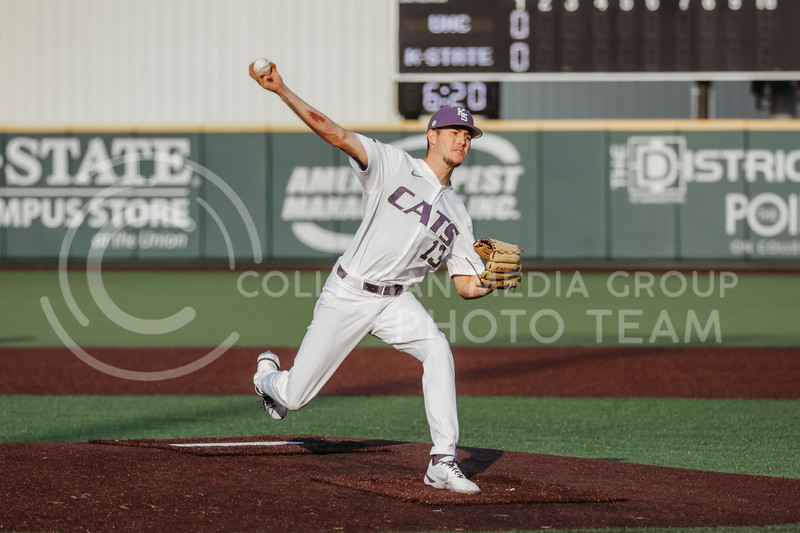 Senior Caleb Littlejim pitches during the April 13, 2021 game against Northern Colorado at Tointon Family Stadium. (Sophie Osborn | Collegian Media Group)