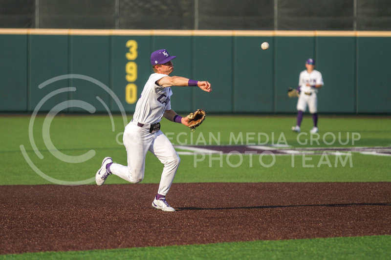 Freshman Nick Goodwin throws the ball from the outfield during the April 13, 2021 game against Northern Colorado at Tointon Family Stadium. (Sophie Osborn | Collegian Media Group)