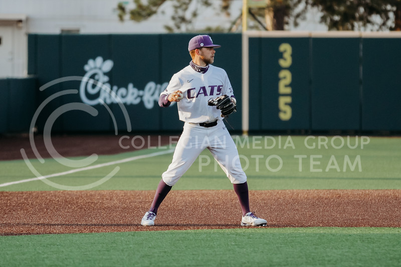 Senior Cameron Thompson looks to throw the ball during the April 13, 2021 game against Northern Colorado at Tointon Family Stadium. (Sophie Osborn | Collegian Media Group)